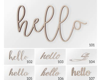 Hello Wood Word, Scroll Cut Word, Hello Sign, Hello Cutout, Cursive Hello, Fancy Script Hello, Wall Decor Word, Hello Wood Decor