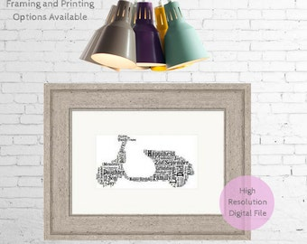 Personalised Moped ~  Printable Word Art ~ Word Art Print ~ Fathers Day ~ Bike ~ Present for Men ~ Birthday ~ Dad ~ Son ~ Grandad