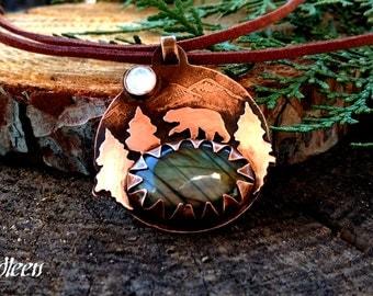 Labradorite Pendant, Labradorite Necklace, Bear labradorite, Copper Necklace, Bear Pendant, Bear totem necklace, northern lights necklace