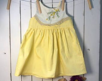 Baby Dress featuring vintage linen embroidery