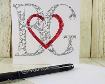 Wedding, valentines entwined heart monogram card, bespoke card, monogram anniversary card, personalised wedding card, custom engagement card