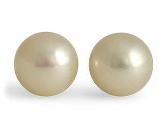 7mm Classic White Pearl Earring Studs White Gold Pushback