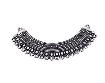 1 Silver Plated Ethnic Curved Focal Collar Pendant Necklace Connector with Loops