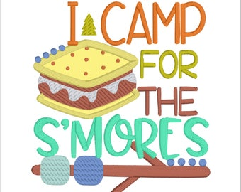 Smores embroidery design Camping embroidery design camping Applique I camp for the s'mores Embroidery smores applique design embroidery 5X7