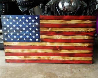 Handmade American Flag - Red White and Blue - Burned Wood Flag - Wood Flag
