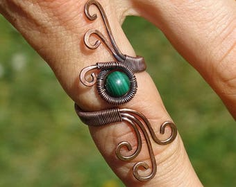 MALACHITE Healing Ring / Wire Wrapped Ring /  wire wrapped jewelry handmade / Gem Healing Ring