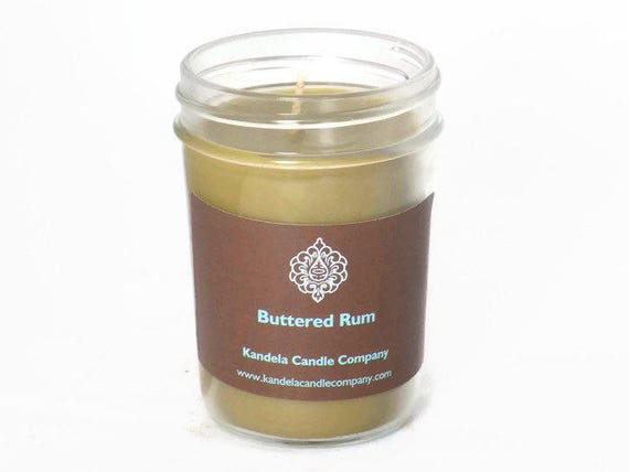Buttered Rum Scented Candle in Jelly Jar