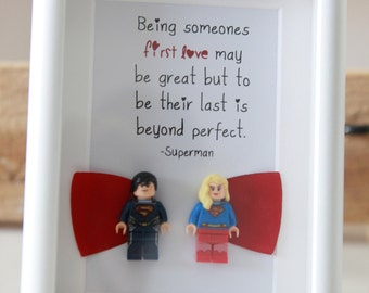 Superman and Superwoman or wonderwoman Lego inspired romantic boyfriend anniversary wife husband girlfriend wedding husband to gift present
