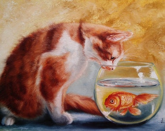 The desire for a Cat Oil Painting Cat