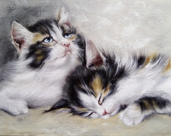Couple of kittens Oil painting cats