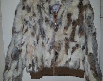 Wilson's Leather Maxima Rabbit Fur Jacket Size XL with matching Wilson's Rabbit Hat