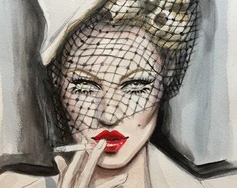 1940's Inspired Vintage Hollywood Original Acrylic Fashion Illustration Painting