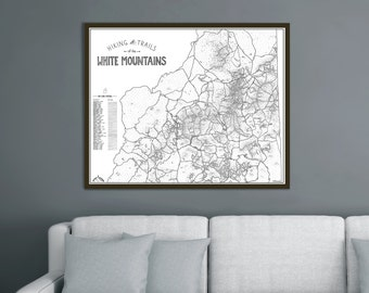 White Mountains NH Hiking Trails Map 4000 Footers Hand Drawn Print