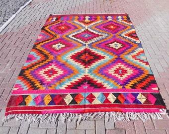 Vintage turkish kilim rug, kilim rug 8x10, area rug, large rug, bohemian rug,  pink rug, wool rug, gift for mom, 76