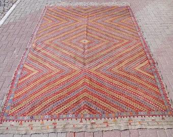"Vintage Turkish Kilim Rug, Bohemian rug, oushak rug, red rug, kilim rug large, vintage rug, blue rug, area rugs, 87.5"" x 127"""