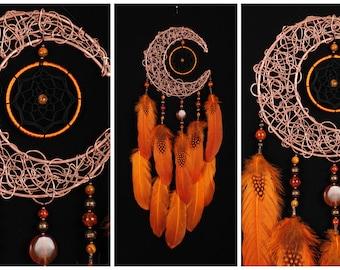 Orange Dream Catcher Moon Dreamcatcher Copper dreamcatcher carnelian dreamcatchers wall decor handmade gift carnelian unique gift birthday