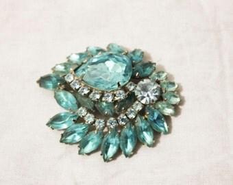 1950s Vintage Turquoise Blues Diamond Brooch