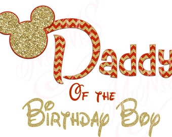 Daddy Birthday Boy Minnie Mickey Red Gold  Mouse Mom Birthday Boy Shirt DIY Iron On Digital Art Matching Red Black Dot Birthday