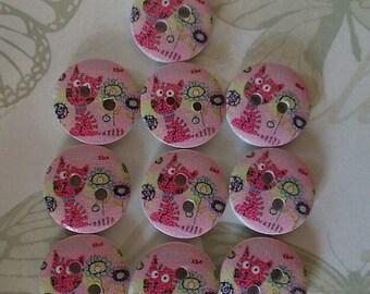 Cat Buttons, Pink Buttons, Pink Cat Buttons, 15mm Buttons, 15mm Pink Buttons, Kitty Buttons, Childrens Buttons, Baby Buttons, Animal Buttons