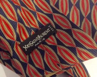 Sixties seventies YSL silk kipper tie