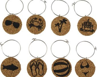 Beach Themed Cork Wine Glass Charms- Set of 8 - Designs: Beach Ball, Flip Flop, Palm Tree, Crab, Sand Castle - Cork Tags to Mark Your Drinks
