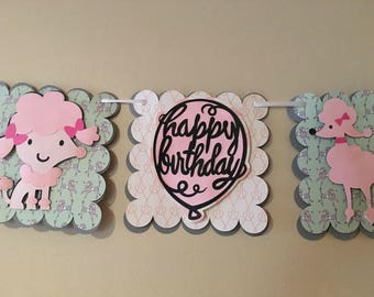 Pink Poodle Birthday Banner