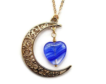 Gold Crescent Moon Necklace Gold Moon and Blue Heart Necklace Cobalt Blue Moon Pendant dainty Tiny Fine Gold Chain Lampwork Glass Bead Gift