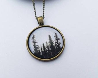 Tree necklace, tree charm, tree silhouette, forest necklace, pine tree necklace, woods, bohemian necklace, nature lover, tree hugger, nature