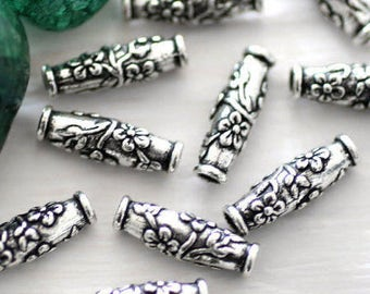 4pc silver barrel beads, tribal beads, metal beads, tube beads, large hole beads, bracelet beads, TierraCast, silver spacers, antique silver