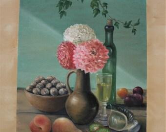 Still-life - original oil painting, 35x45 cm, flowers,green, spring, pink, art, drawing, illustration