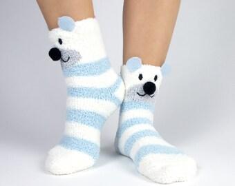 Polar bear and snowflake fuzzy socks with pom poms boxed gift set