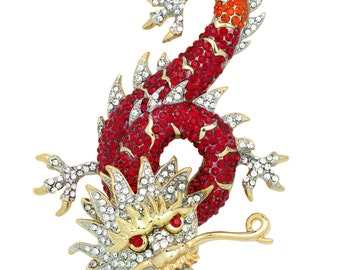 Gold Tone Swarovski Element Red Chinese Dragon Brooch Pin