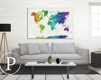 Watercolor World Map, 3 Panel Canvas and Single Panel, Map on Canvas, Wall Decor, Multi-panel Canvas, Watercolor Map Reproduction