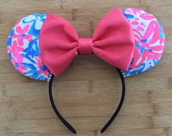Lilly Pulitzer Ears, Lilly Pulitzer Inspired Ears, Pop PopEars, Lilly Ears, Lilly Minnie Ears, Lilly Mickey Ears, Lilly Mouse Ears