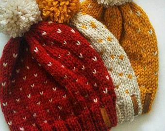 Fair Isle Knit Slouchy Hat With Pom Pom