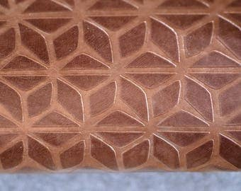 Brown Printed Leather Hide  50 cm  x 65cm 0.6-0.8mm Italian Leather Hide Geometric Star Pattern Flower Pattern Leather Hide  b671