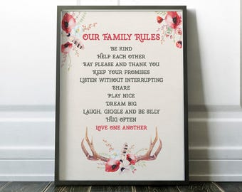 Our family rules printable, family rules print, custom family rules, family art,  instant download, rules of the family, family sign