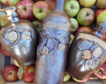 Three Vintage French 'Calvados' Handmade Pitchers/Bottle with Individual Clay Leaves, Apples and 'Calvados' Details