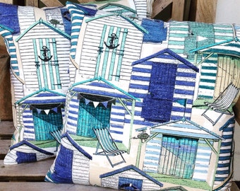 Beach Huts outdoor cushion cover to fit 50cm. fill