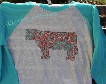 Mandala Cow Raglan Shirt