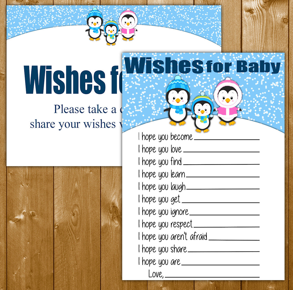 penguin baby shower games for a boy wishes for by showerprintables