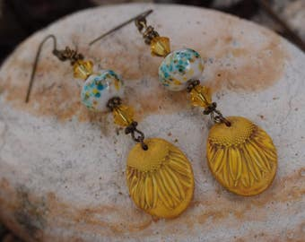 Sunshine and Blue Skies Daisy Earrings/Lampwork Earrings/Bohemian Earrings/Daisy Earrings/Swarovski Earrings/Hippie Earrings/Flower Earrings