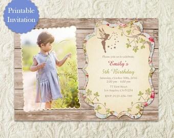 Fairy Photo Invitation, Woodland Fairy Invitation, Enchanted Forest Fairy Invitation, Garden Fairy Party Invitation, Woodland Fairy Birthday