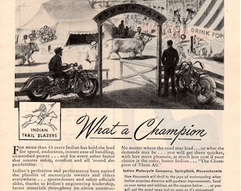"1944 Indian motorcycle  vintage magazine ad ""Now that's a champion "" wall decor auto repair shop (1701)"