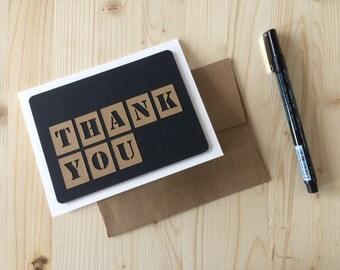 Black and Kraft Paper Thank You Card, Handmade Thank You Card, Papercut Thank U Card, Retro Style Card, Gratitude Card