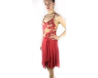 Red dress, formal wear, Argentine tango dress, dancewear