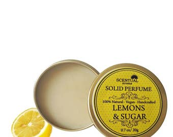 Lemons & Sugar Solid Perfume, Organic Lemons Sugar Perfume Bar, Vegan Perfume, Natural Perfume, Gift Idea