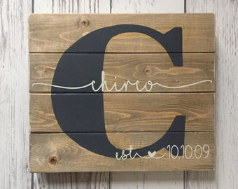 Last name wood sign Wedding Anniversary Gift Family name sign, Custom wedding gift Housewarming gift, Established sign