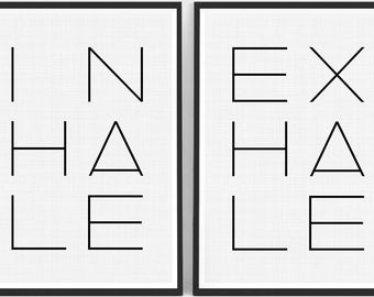 Inhale Exhale Print Set of 2, Typography Print, Yoga Poster Set, Quote Printable, Inhale Exhale Wall Art, Minimalist Quotes, Nursery Quotes