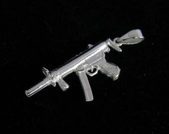 Sterling Silver Kalashnikov Pendant machine gun